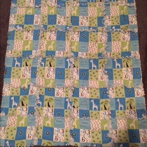 Blue flannel. baby quilt / blanket